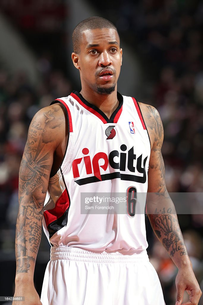 <a gi-track='captionPersonalityLinkClicked' href=/galleries/search?phrase=Eric+Maynor&family=editorial&specificpeople=4194194 ng-click='$event.stopPropagation()'>Eric Maynor</a> #6 of the Portland Trail Blazers stands on the court during the game against the Boston Celtics on February 24, 2013 at the Rose Garden Arena in Portland, Oregon.