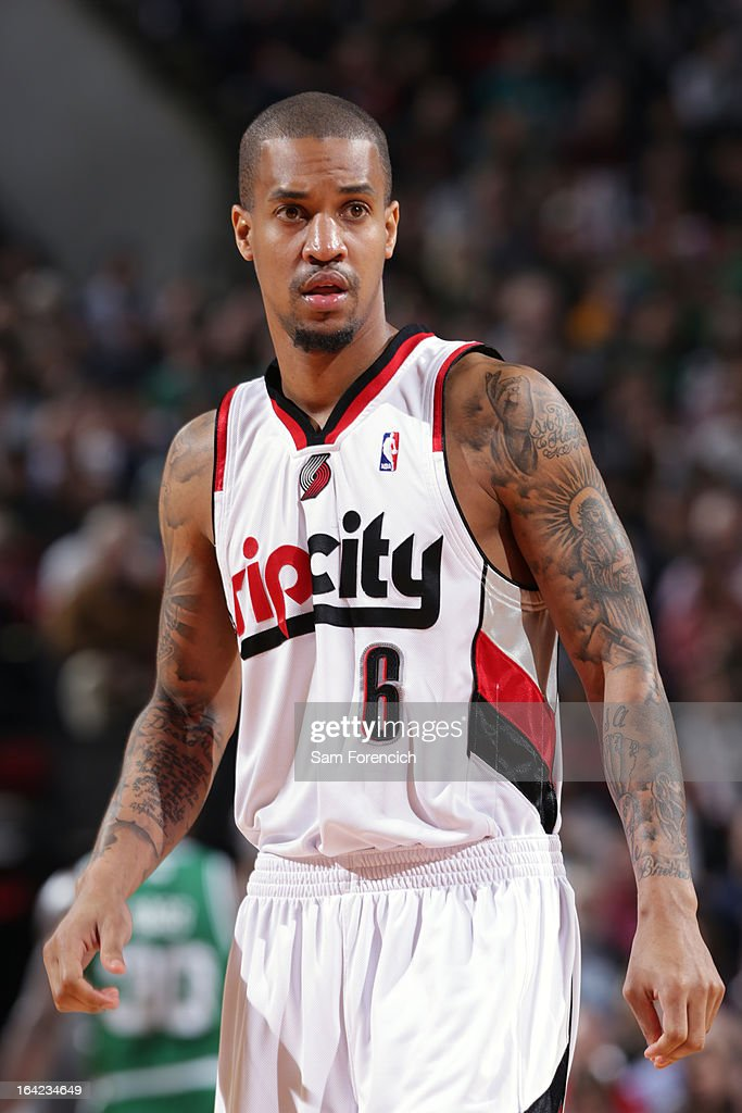 Eric Maynor #6 of the Portland Trail Blazers walks off the court during the game against the Boston Celtics on February 24, 2013 at the Rose Garden Arena in Portland, Oregon.
