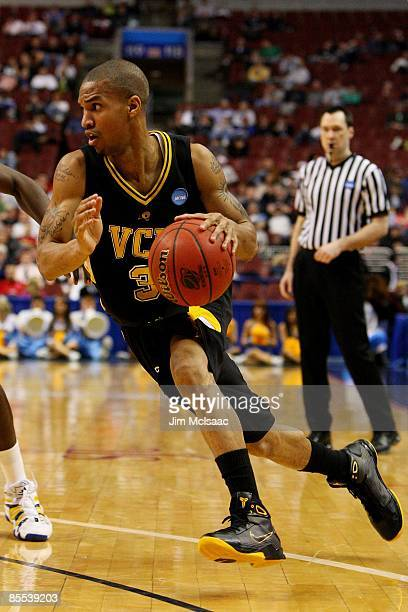 Eric Maynor of the the VCU Rams drives against the UCLA Bruins during the first round of the NCAA Division I Men's Basketball Tournament at the...