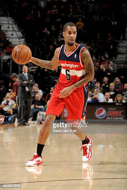 Eric Maynor of the Washington Wizards surveys the defense of the Cleveland Cavaliers at The Quicken Loans Arena on November 20 2013 in Cleveland Ohio...