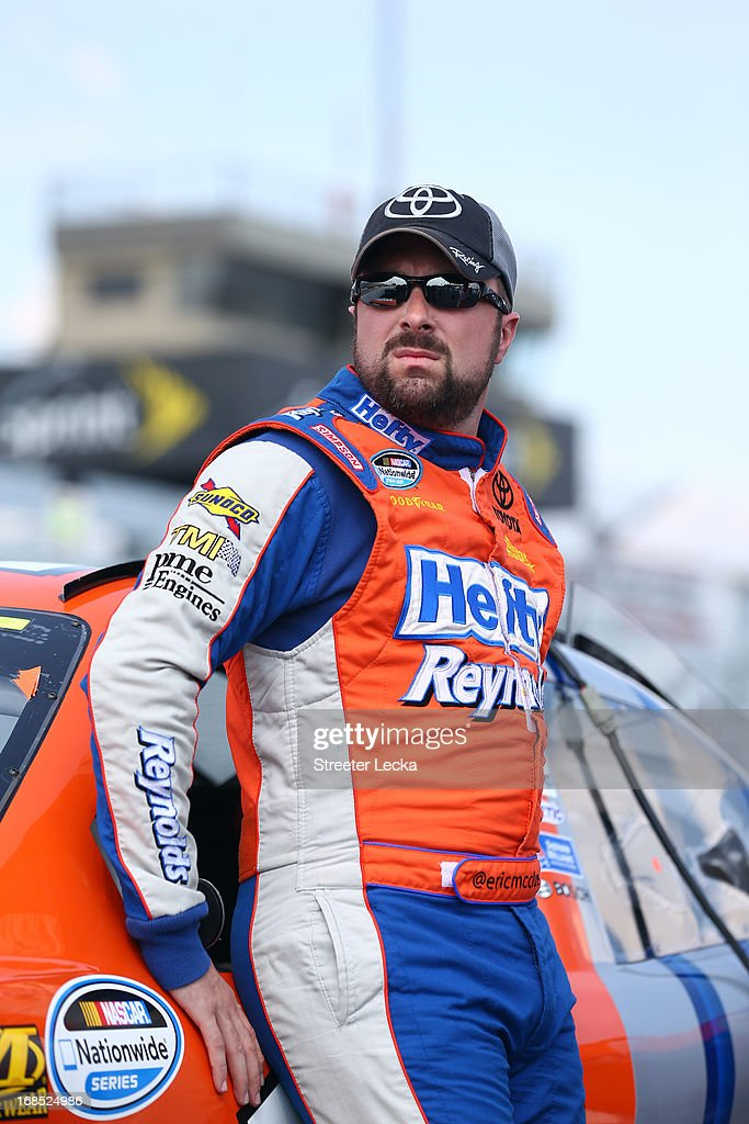 <a gi-track='captionPersonalityLinkClicked' href=/galleries/search?phrase=Eric+McClure&family=editorial&specificpeople=2561150 ng-click='$event.stopPropagation()'>Eric McClure</a>, driver of the #14 Hefty / Reynolds Toyota, looks on during qualifying for the NASCAR Nationwide Series VFW Sport Clips Hero 200 at Darlington Raceway on May 10, 2013 in Darlington, South Carolina.