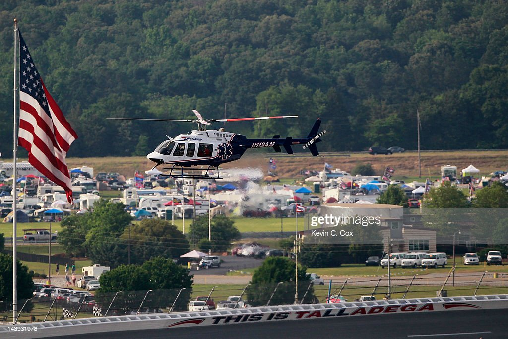 Eric McClure, driver of the #14 Hefty/Reynolds Wrap Toyota, is air lifted by a medical team after an on track incident during the NASCAR Nationwide Series Aaron's 312 at Talladega Superspeedway on May 5, 2012 in Talladega, Alabama.