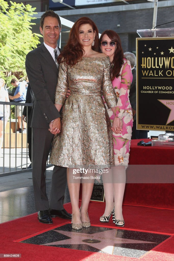 Eric McCormack, Debra Messing and Megan Mullally attend a Ceremony Honoring Debra Messing With Star On The Hollywood Walk Of Fame on October 6, 2017 in Hollywood, California.