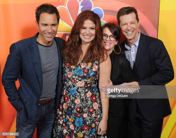 Eric McCormack Debra Messing Megan Mullally and Sean Hayes arrive at the 2017 Summer TCA Tour NBC Press Tour at The Beverly Hilton Hotel on August 3...