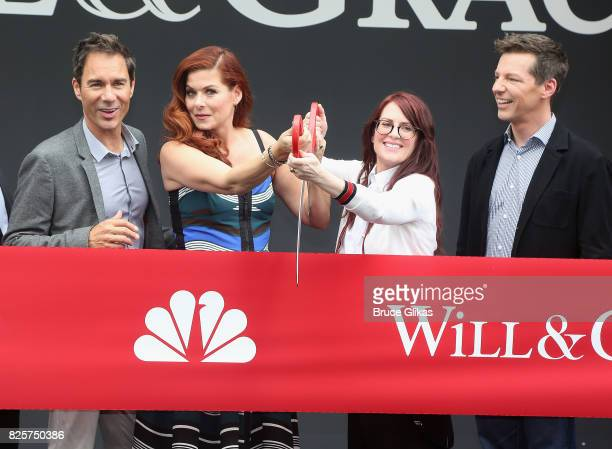 Eric McCormack Debra Messing Megan Mullally and Sean Hayes pose at the 'Will Grace' first day kick off of production event and ribbon cutting...