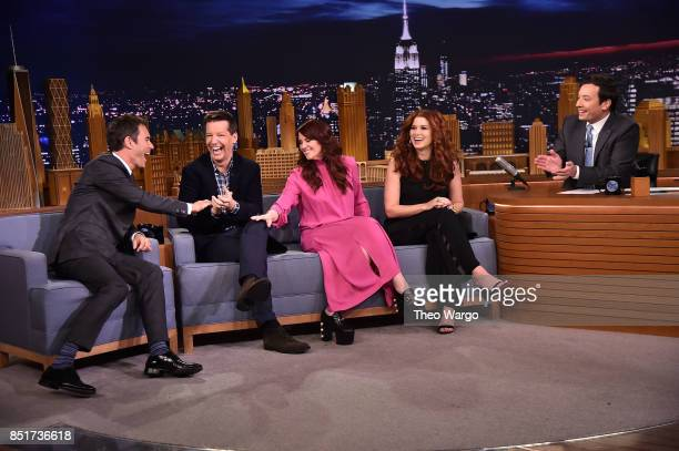 Eric McCormack Sean Hayes Megan Mullally and Debra Messing of The Cast Of 'Will Grace' Visits 'The Tonight Show Starring Jimmy Fallon' at Rockefeller...