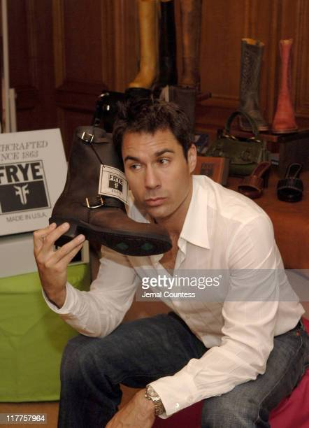 Eric McCorrmack with Frye Boots at the Fyre gift station