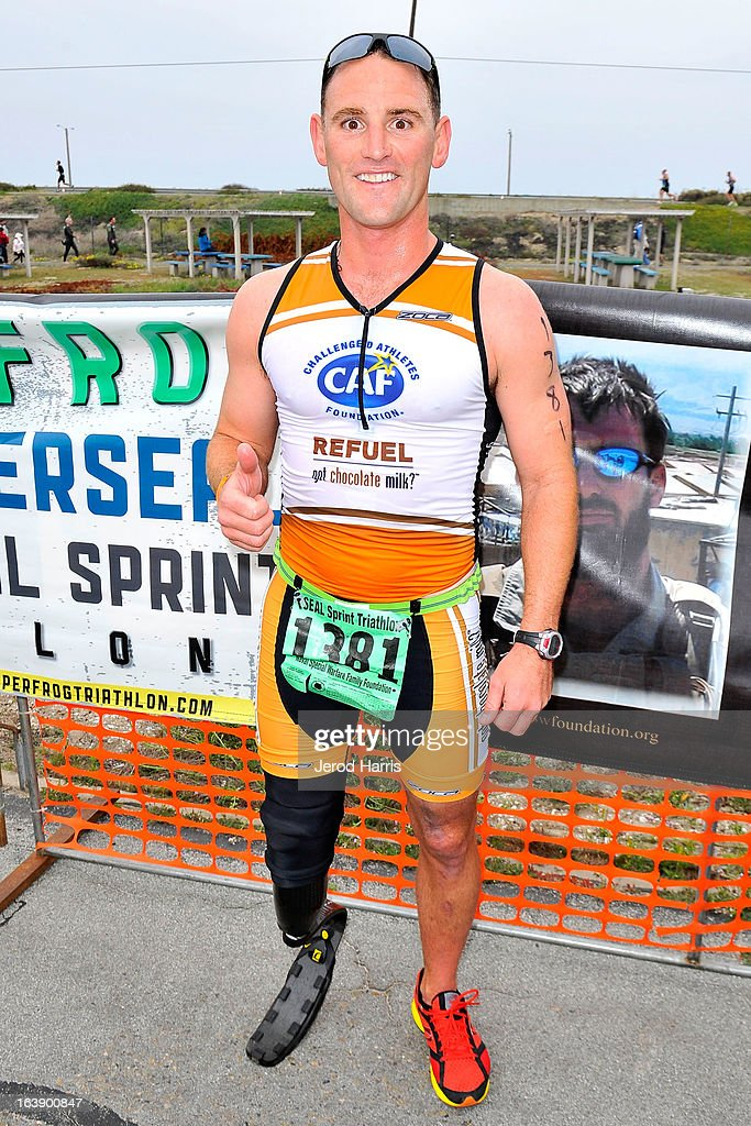 Eric McElvenny finishes the SEAL Sprint III Triathlon with the help of REFUEL | 'Got Chocolate Milk' on March 17, 2013 in San Diego, California.