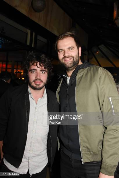 Eric Metzger and Quentin MargotÊattend the 'Prix De Flore 2017' Literary Prize Winner Announcement At Cafe De Flore on November 8 2017 in Paris France