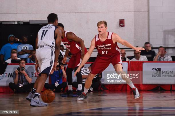 Eric Mika of the Miami Heat plays defense during the 2017 Las Vegas Summer League game against the Dallas Mavericks on July 11 2017 at Cox Pavillion...