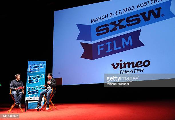 Eric Moro of Wikiacom and director Seth MacFarlane attend 'A Conversation with Seth MacFarlane' Panel during the 2012 SXSW Music Film Interactive...