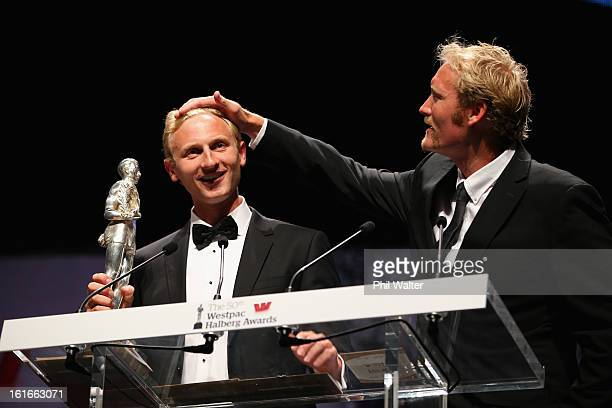 Eric Murray and Hamish Bond accept the overall Halberg Award during the 2013 Halberg Awards at Vector Arena on February 14 2013 in Auckland New...
