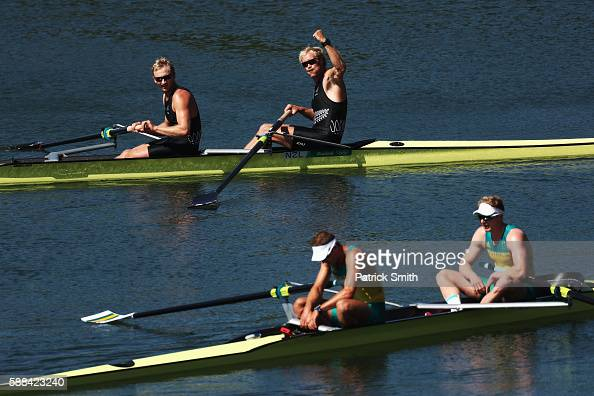 Eric Murray and Hamish Bond of New Zealand celebrate winning the gold medal in the Men's Pair Final A on Day 6 of the Rio 2016 Olympic Games at the...