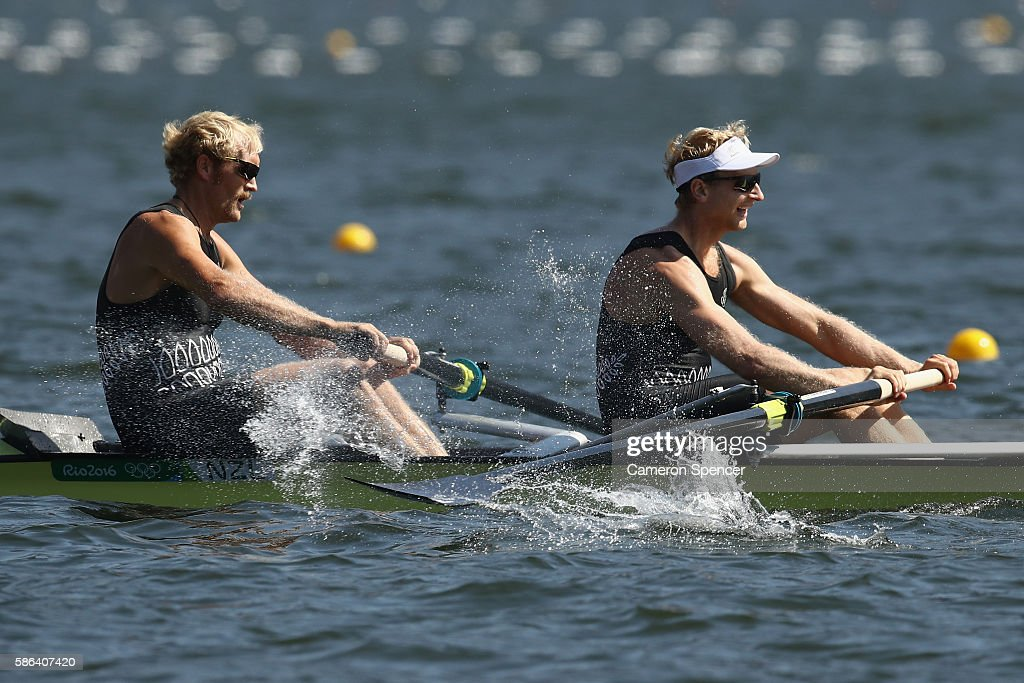 Eric Murray and Hamish Bond of New Zealand compete during the Men's Pair Heat 3 on Day 1 of the Rio 2016 Olympic Games at the Lagoa Stadium on August...