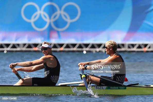 Eric Murray and Hamish Bond of New Zealand compete during the Men's Pair Final A on Day 6 of the Rio 2016 Olympic Games at the Lagoa Stadium on...