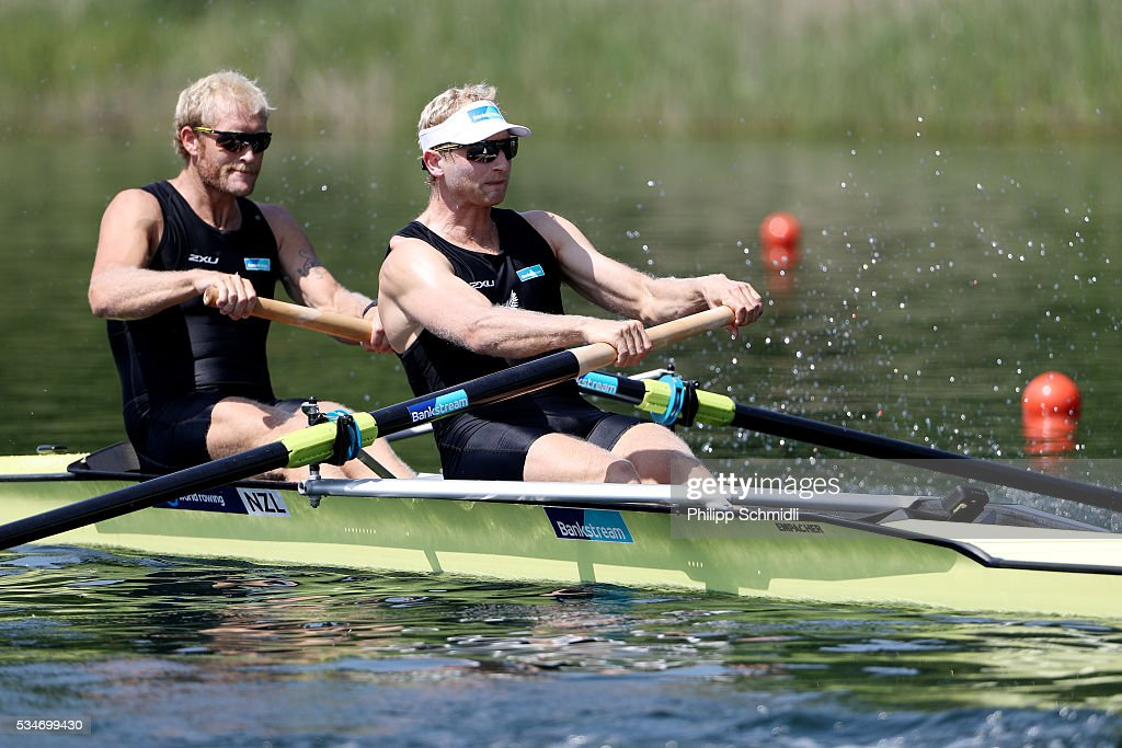 <a gi-track='captionPersonalityLinkClicked' href=/galleries/search?phrase=Eric+Murray+-+Rower&family=editorial&specificpeople=9613913 ng-click='$event.stopPropagation()'>Eric Murray</a> (L) and <a gi-track='captionPersonalityLinkClicked' href=/galleries/search?phrase=Hamish+Bond&family=editorial&specificpeople=761128 ng-click='$event.stopPropagation()'>Hamish Bond</a> of New Zealand compete in the Men's Pair heats during day 1 of the 2016 World Rowing Cup II at Rotsee on May 27, 2016 in Lucerne, Switzerland.