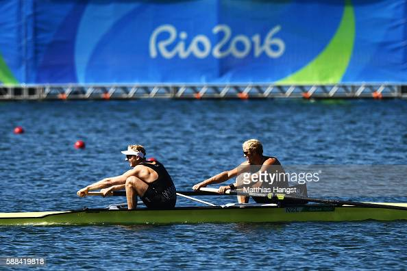 Eric Murray and Hamish Bond of New Zealand compete on their way to winning the gold medal in the Men's Pair Final A on Day 6 of the Rio 2016 Olympic...