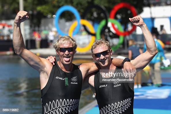 Eric Murray and Hamish Bond of New Zealand react after winning the gold medal in the Men's Pair Final A on Day 6 of the Rio 2016 Olympic Games at the...