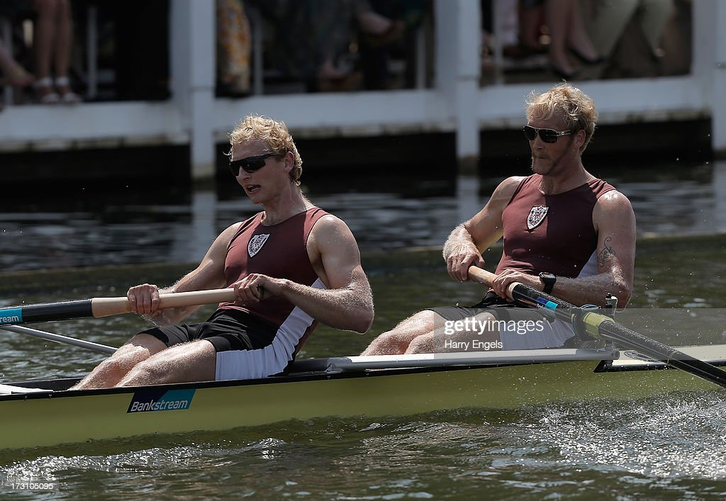 Eric Murray (R) and Hamish Bond of New Zealand row in the Silver Goblets and Nickalls' Challenge Cup final on finals day of the Henley Royal Regatta on July 7, 2013 in Henley-on-Thames, England.