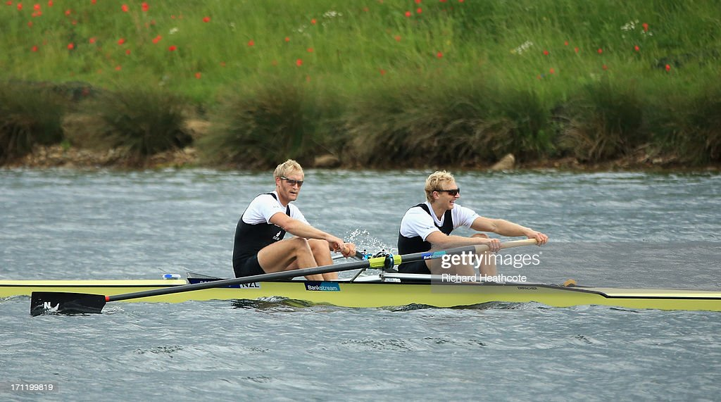 Eric Murray and <a gi-track='captionPersonalityLinkClicked' href=/galleries/search?phrase=Hamish+Bond&family=editorial&specificpeople=761128 ng-click='$event.stopPropagation()'>Hamish Bond</a> of New Zealand row to victory in the Men's Pair final during the third day of the 2013 Samsung World Rowing Cup II at Eton Dorney on June 23, 2013 in Windsor, England.