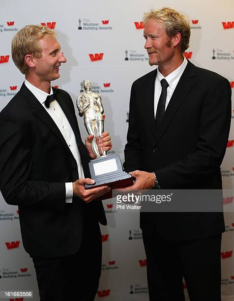 Eric Murray and Hamish Bond pose with the overall Halberg Award during the 2013 Halberg Awards at Vector Arena on February 14 2013 in Auckland New...