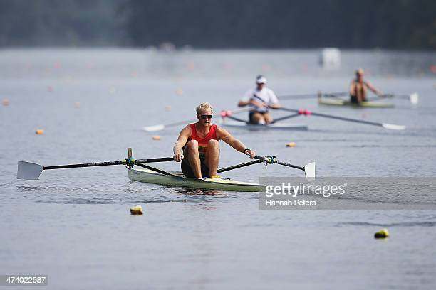 Eric Murray Mahe Drysdale and Hamish Bond compete in the Men's Premier 1X final during the Bankstream New Zealand Rowing Championships at Lake...