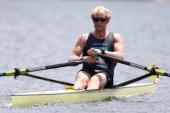 Eric Murray of the New Zealand Summer Squad competes in the final of the men's premier single sculls during the North Island Club Championships at...