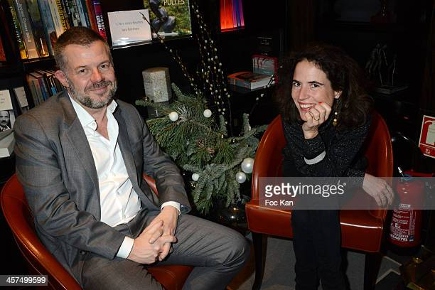 Eric Naulleau and Mazarine Pingeot Mitterrand attend the 'Escales Litteraires' Cocktail Hosted By Sofitel Hotels At the Sofitel Paris Le Faubourg on...