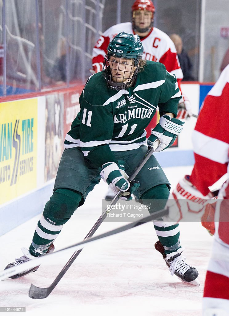 Eric Neiley #11 of the Dartmouth College Big Green skates against the Boston University Terriers during NCAA hockey action at Agganis Arena on January 8, 2014 in Boston, Massachusetts.