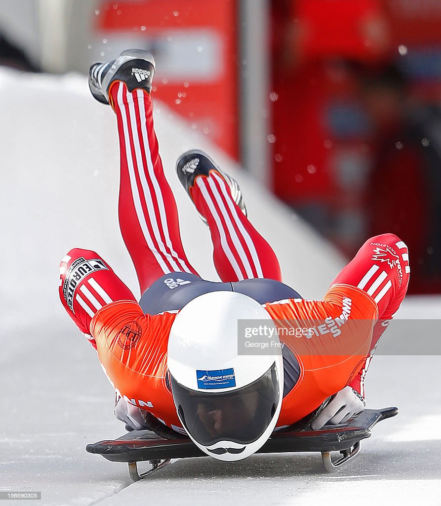 Eric Neilson of Canada finishes sixth in the FIBT Men's Skeleton World Cup heat 1, on November 17, 2012 at Utah Olympic Park in Park City, Utah.