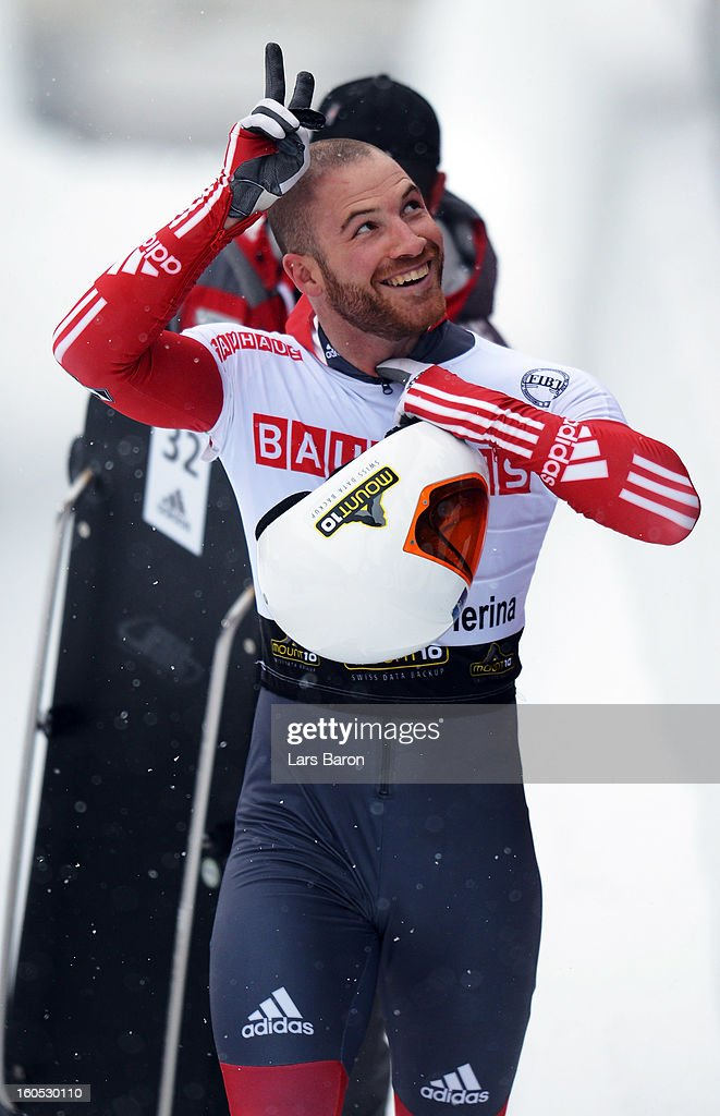 Eric Neilson of Canada reacts after the man's skeleton final heat of the IBSF Bob & Skeleton World Championship at Olympia Bob Run on February 2, 2013 in St Moritz, Switzerland.