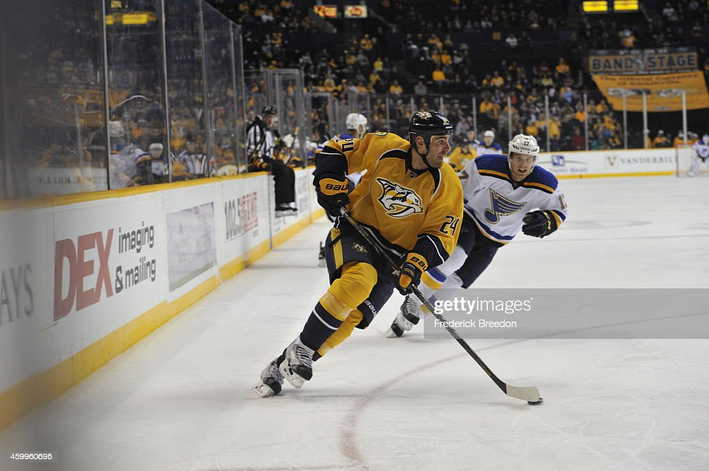 Eric Nystrom of the Nashville Predators carries the puck against the St Louis Blues at Bridgestone Arena on December 4 2014 in Nashville Tennessee