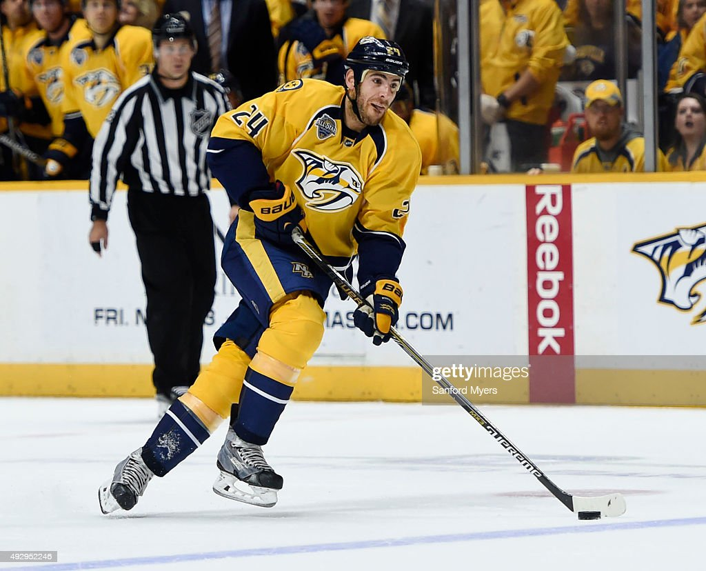Eric Nystrom of the Nashville Predators carries the puck against the Carolina Hurricanes at Bridgestone Arena on October 8 2015 in Nashville Tennessee