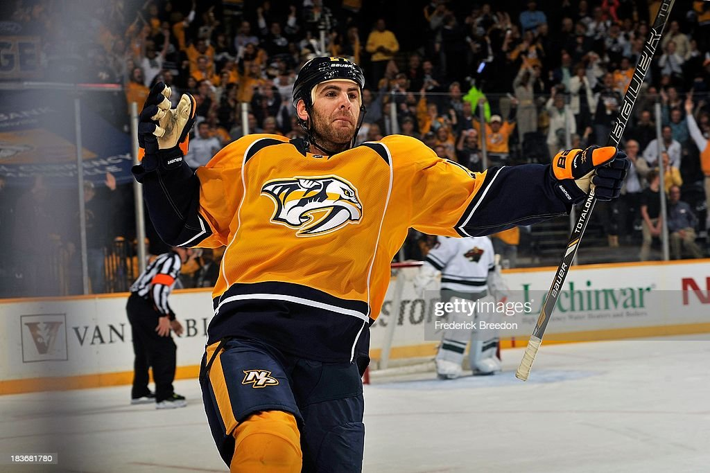 <a gi-track='captionPersonalityLinkClicked' href=/galleries/search?phrase=Eric+Nystrom&family=editorial&specificpeople=2209813 ng-click='$event.stopPropagation()'>Eric Nystrom</a> #24 of the Nashville Predators celebrates a penalty shot goal against the Minnesota Wild at Bridgestone Arena on October 8, 2013 in Nashville, Tennessee.