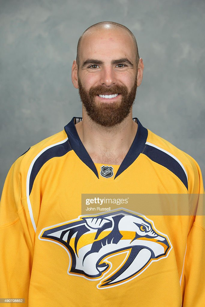 Eric Nystrom of the Nashville Predators poses for his official headshot for the 20152016 season on September 17 2015 at the Bridgestone Arena in...