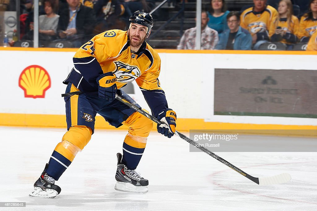 Eric Nystrom of the Nashville Predators skates against the Buffalo Sabres during an NHL at Bridgestone Arena on March 27 2014 in Nashville Tennessee