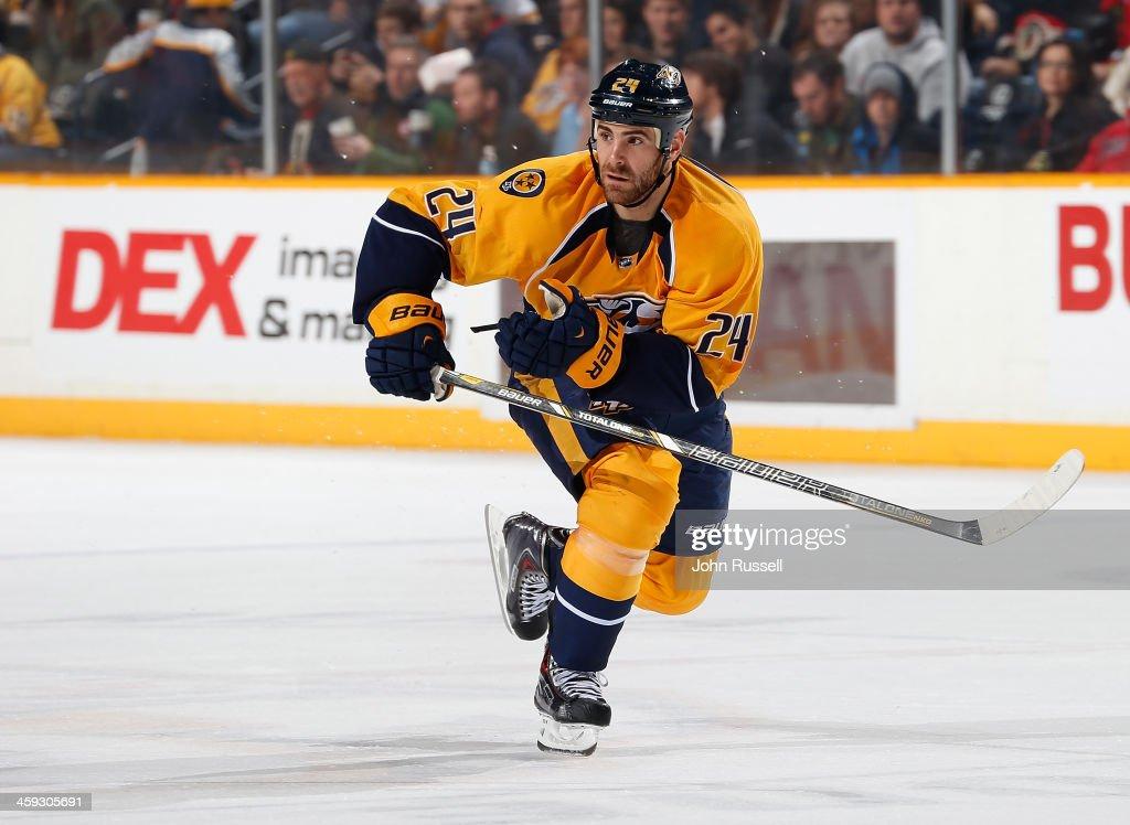 Eric Nystrom of the Nashville Predators skates against the Chicago Blackhawks at Bridgestone Arena on December 17 2013 in Nashville Tennessee