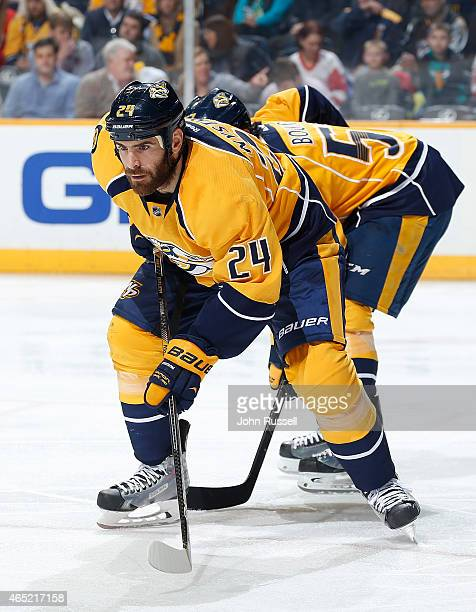 Eric Nystrom of the Nashville Predators skates against the Detroit Red Wings during an NHL game at Bridgestone Arena on February 28 2015 in Nashville...