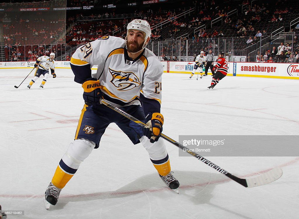 Eric Nystrom of the Nashville Predators skates against the New Jersey Devils at the Prudential Center on March 3 2015 in Newark New Jersey The Devils...