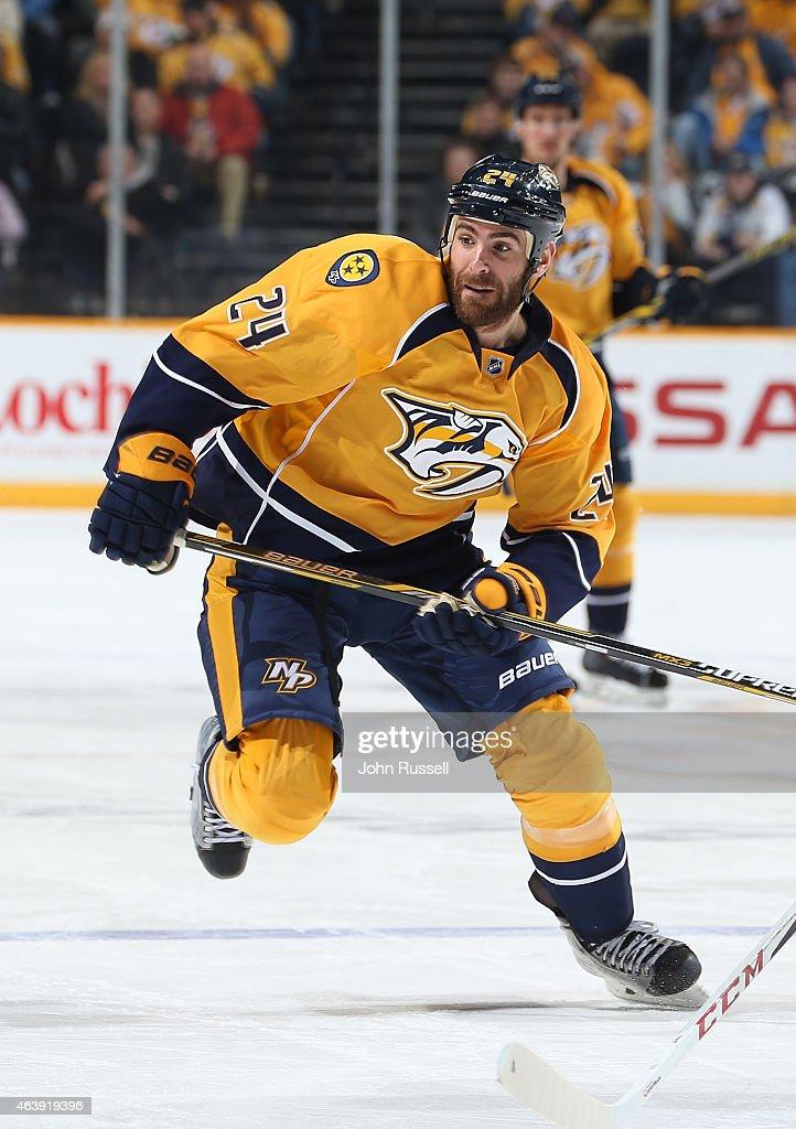Eric Nystrom of the Nashville Predators skates against the San Jose Sharks during an NHL game at Bridgestone Arena on February 17 2015 in Nashville...