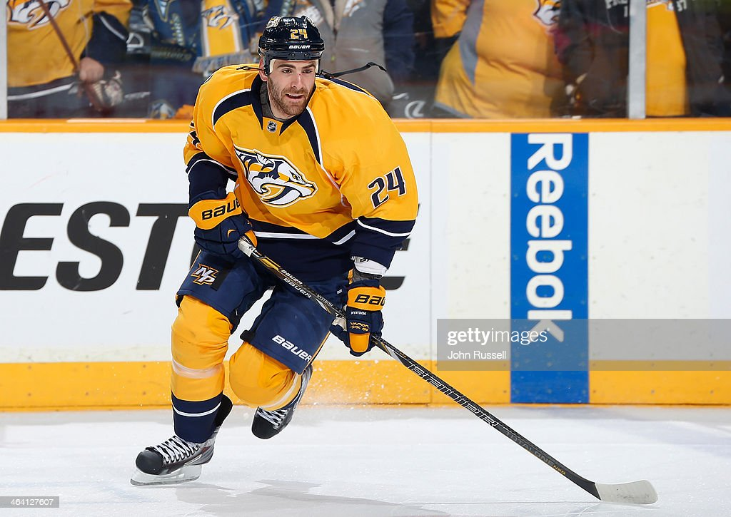 Eric Nystrom of the Nashville Predators skates against the San Jose Sharks at Bridgestone Arena on January 7 2014 in Nashville Tennessee