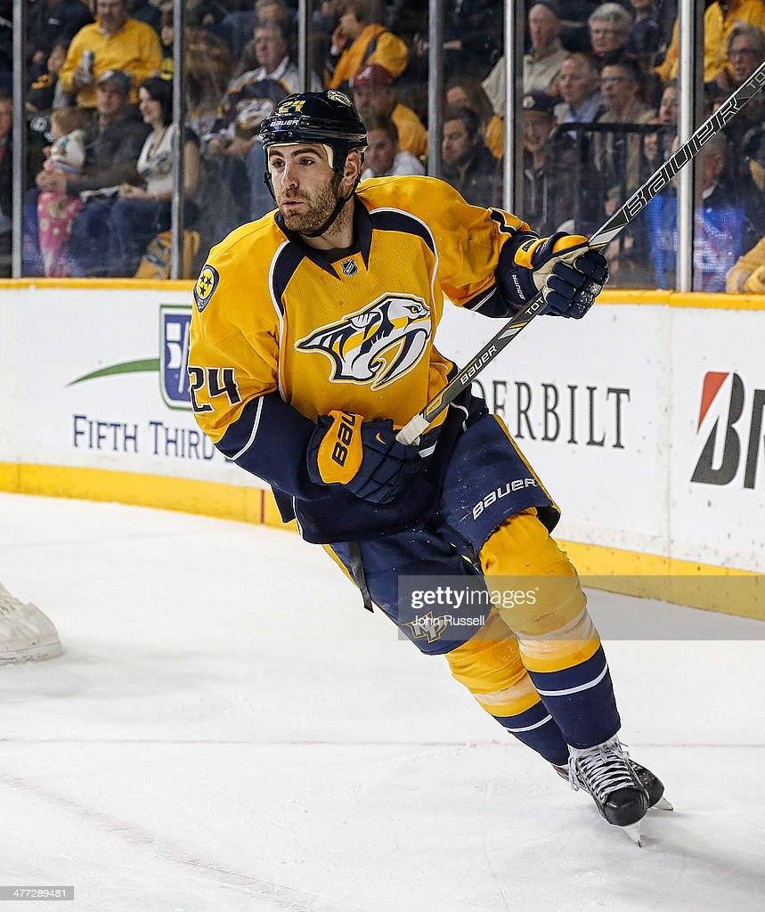 Eric Nystrom of the Nashville Predators skates against the St Louis Blues at Bridgestone Arena on March 6 2014 in Nashville Tennessee