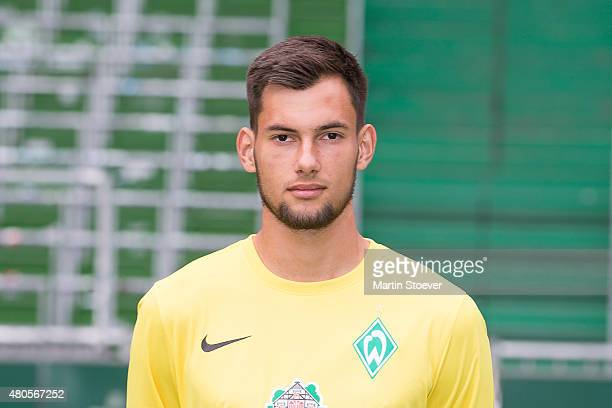 Eric Oelschlaegel poses during the official team presentation of Werder Bremen II at Weserstadium on July 10 2015 in Bremen Germany