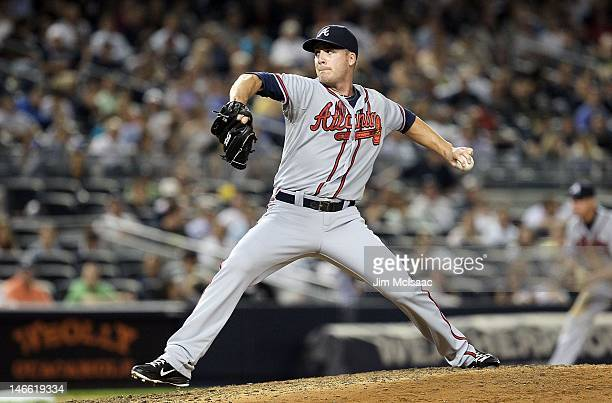 Eric O'Flaherty of the Atlanta Braves in action against the New York Yankees at Yankee Stadium on June 19 2012 in the Bronx borough of New York City...