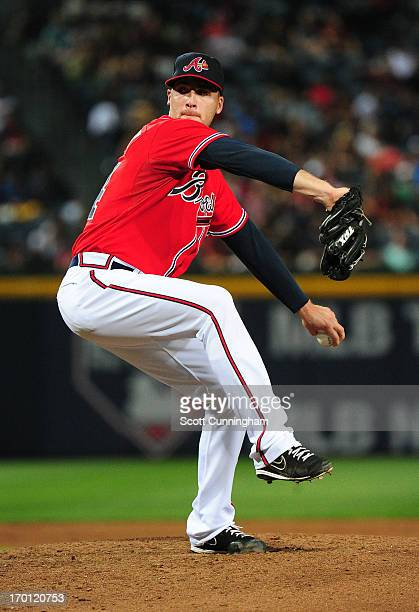 Eric O'Flaherty of the Atlanta Braves pitches against the Los Angeles Dodgers at Turner Field on May 17 2013 in Atlanta Georgia