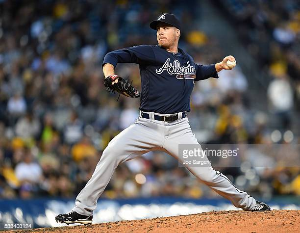 Eric O'Flaherty of the Atlanta Braves pitches against the Pittsburgh Pirates on May 19 2016 at PNC Park in Pittsburgh Pennsylvania