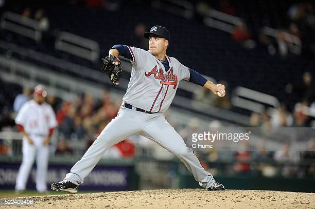 Eric O'Flaherty of the Atlanta Braves pitches against the Washington Nationals at Nationals Park on April 11 2016 in Washington DC
