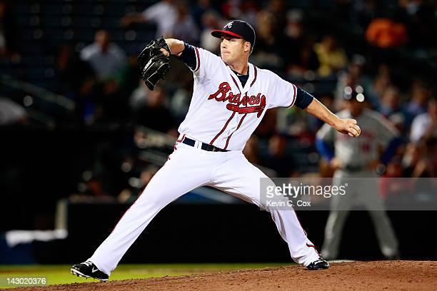 Eric O'Flaherty of the Atlanta Braves pitches to the New York Mets at Turner Field on April 17 2012 in Atlanta Georgia