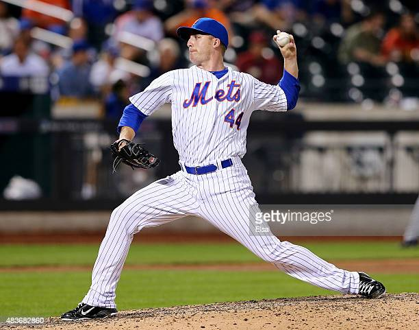 Eric O'Flaherty of the New York Mets delivers a pitch in the ninth inning against the Colorado Rockies on August 11 2015 at Citi Field in the...