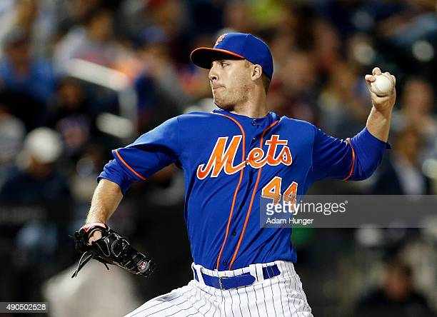 Eric O'Flaherty of the New York Mets pitches against the New York Yankees at Citi Field on September 20 2015 in the Queens borough of New York City